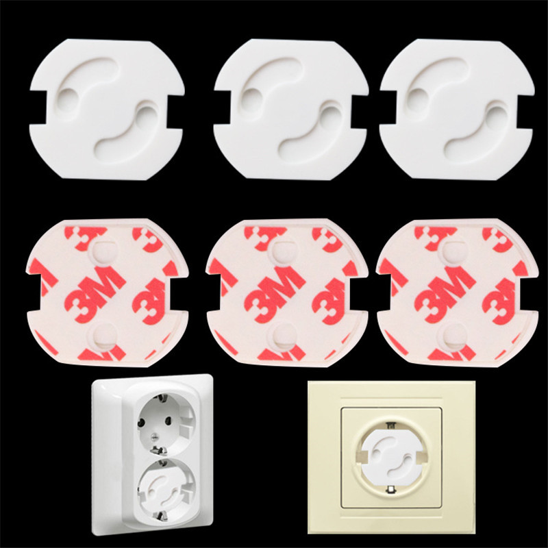 10pcs Baby Socket Security Locks 2 Hole Round European Standard Children Against Electric Protection Plastic Safety Rotate Cover