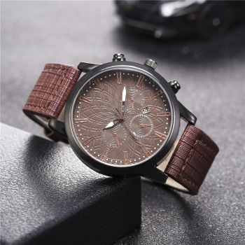 Men Quartz Retro Vintage Fashion Trend Watch Business Casual Belt Wrist-watch Leather Buckle New