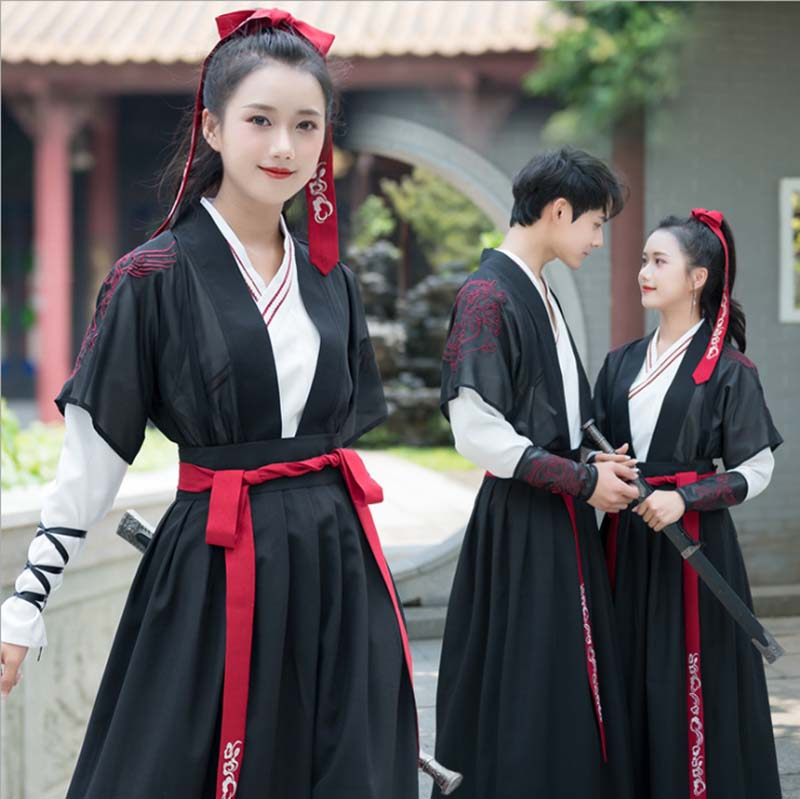 Adult Couples Hanfu Red&Black Sets Traditional Chinese Fancy Dress Lovers Carnival Cosplay Costume For Men/Women Plus Size 2XL