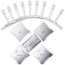Zestaw narzędzi do pomiaru podstrunnicy bmdt guitar z 4 ostrzami promienia, 9 miernikami promienia podciągu i działaniem sznurka
