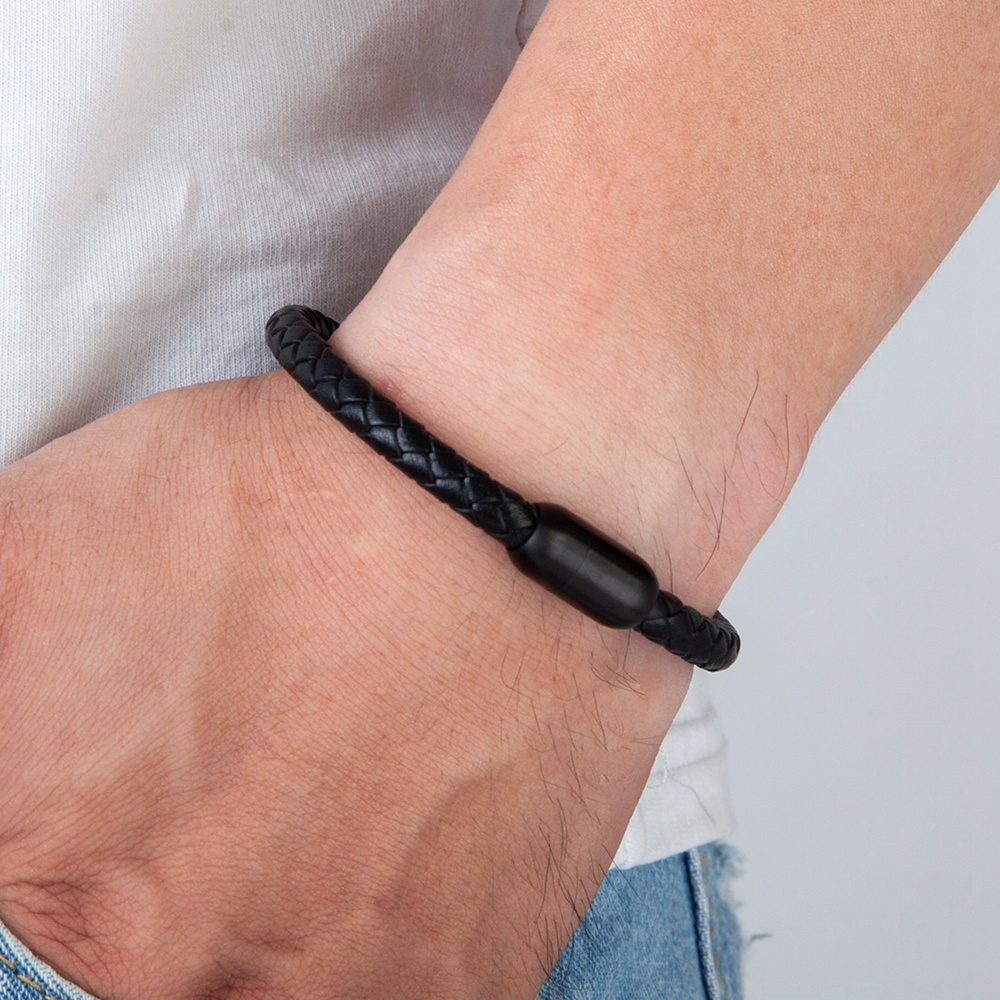 Fashion Simple Style Stainless Steel Men's Leather Bracelet Multi-color Black Leather Bangle For Boys Handsome Birthday Gift