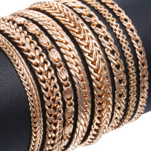 Davieslee Bracelets for Women 585 Rose Gold Filled Chains Mens Womens Bracelat Foxtail Hammered Bismark Chain 3-8mm 20cm DCBB1(China)