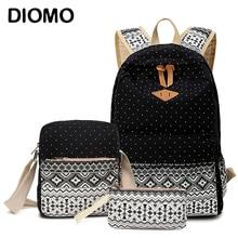 DIOMO Conjunto de mochilas escolares de lona para niñas, morral femenino de alta calidad