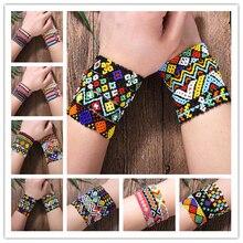 Boho Unisex Acrylic Beaded Bracelet Ethnic Colorful Strand Bracelets New Fashion Bangles Jewelry Travel  Wholesale