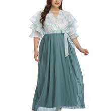 Stitching Dress Abaya Ramadan Maxi Long-Spring Ruched Elegant Fashion Womens Sashes Butterfly Sleeve