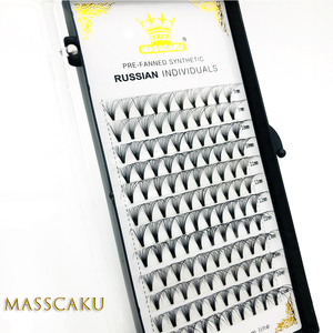 Image 4 - 6 cases/lot 20D Russian Premade Volume Fans Eyelashes Extension C D Curl 0.05 Thickness Heat Bonded Eyelashes Makeup Tools