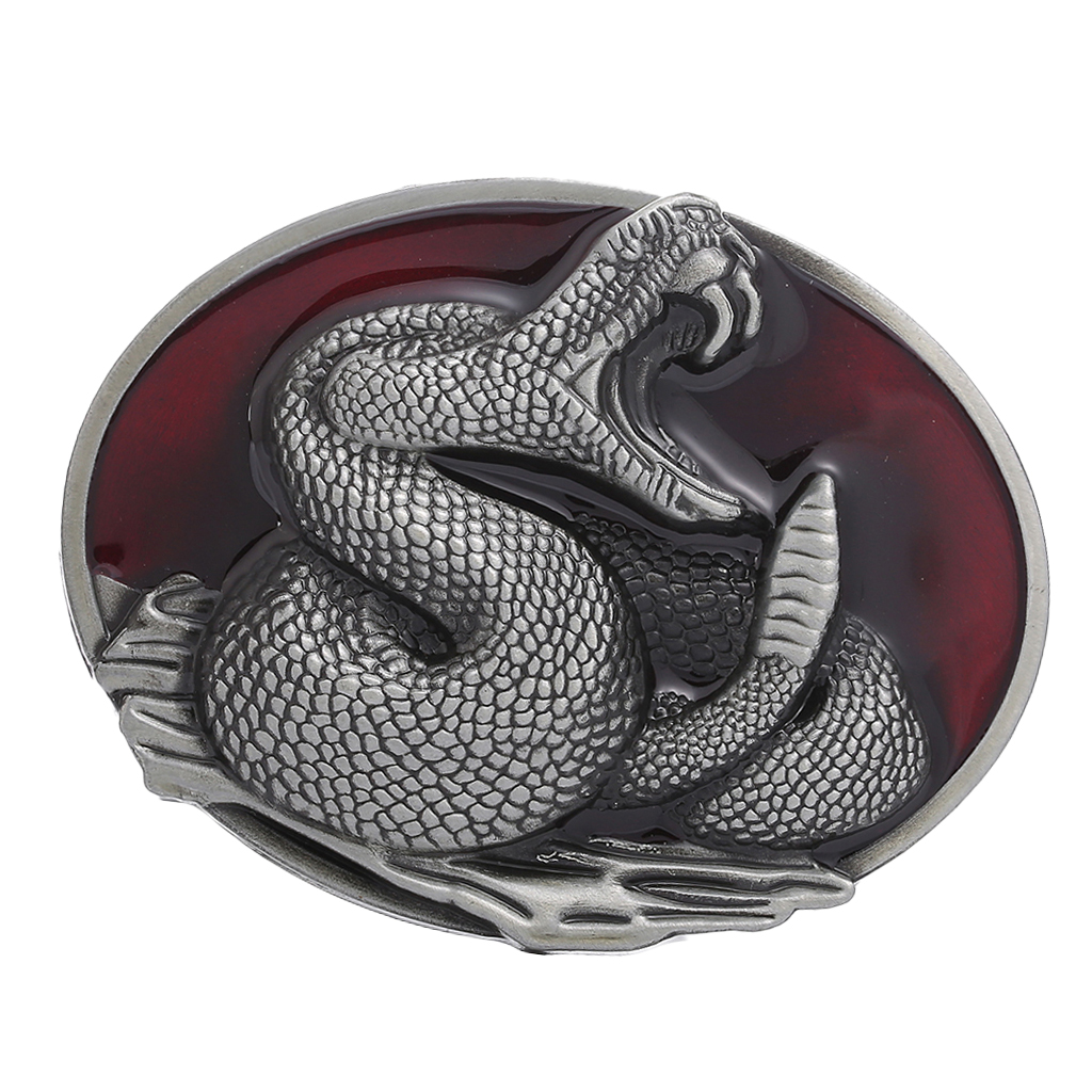 пряжка для ремня Western Snake Belt Buckle - Cowboy Rodeo Accessories - Antique Silver Belt Buckles For Men