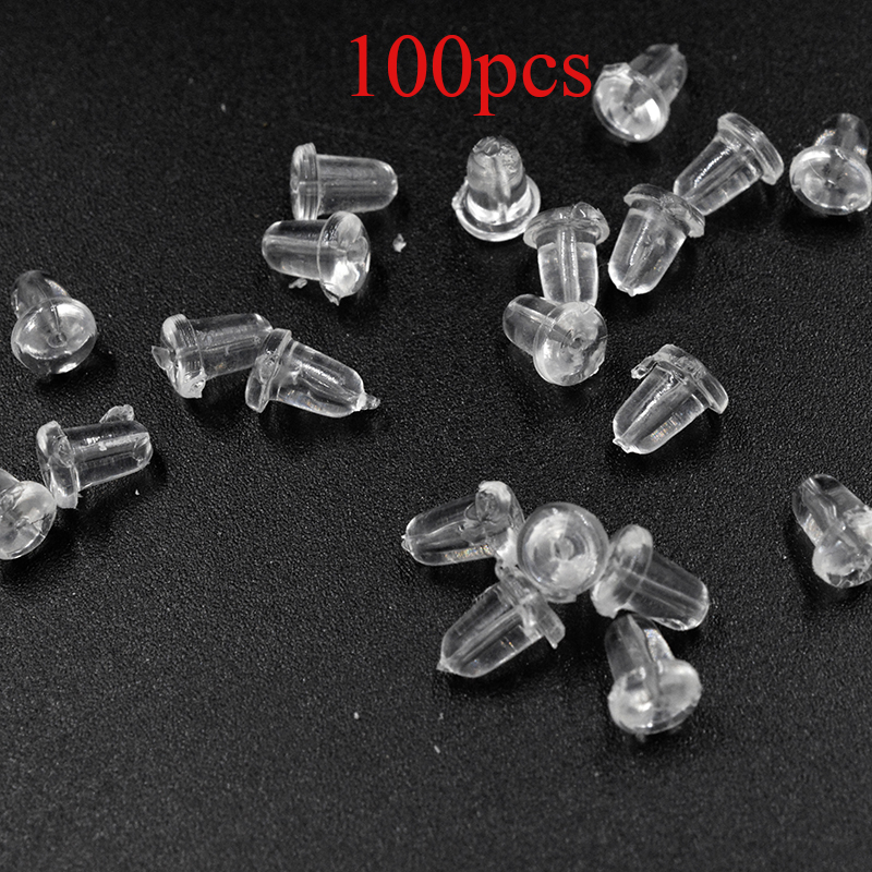 100pcs/lot Clear Soft Silicone Rubber Earring Backs Safety Bullet Stopper Rubber Jewelry Accessories DIY Parts Ear Plugging