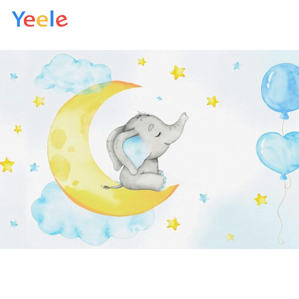 Baby Shower Elephant Backdrop Moon Star Newborn Girl Children Birthday Photography Background For Photo studio Photocall Props in Background from Consumer Electronics