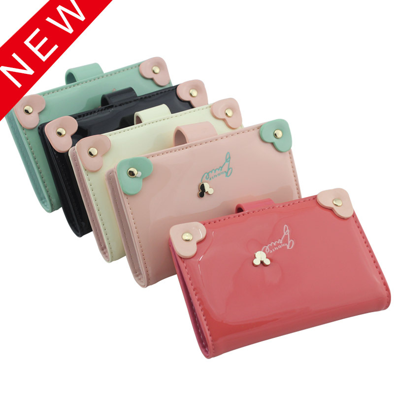 Prettyzys Wallet New Style Korean-style Patent Leather Fashion Heart 20 Card Holder Women's Wallet