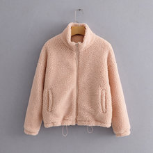Faux fur teddy bear coat women autumn winter pink coat jacket fashion thick pockets outerwear turtleneck fluffy fur short coat(China)