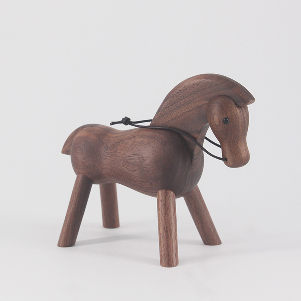 Shop Bedroom Free Standing Horse Decoration Desktop Living Room Small Walnut Craft Lifelike Cafe Cute Home Ornament Toy