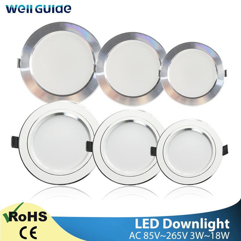 Round LED Downlight 3W 5W 9W 12W 15W 18W Silver White Ultra Thin Aluminum AC110V 220V 240V Round Recessed LED Spot Lighting
