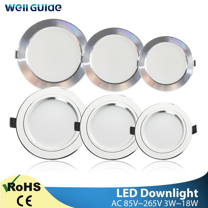 Round LED Downlight 3W 5W 9W 12W 15W 18W Silver White Ultra Thin Aluminum AC110V 220V 240V Round Recessed LED Spot Lighting