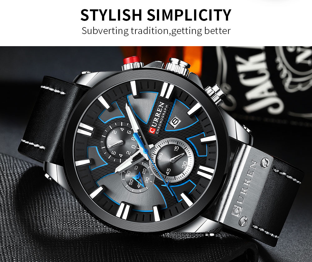 H19429ab546db46e996d2c5e1917b6893k CURREN Big Dial Men's Watch Chronograph Sport Men Watches Design Creative With Dates Male Wristwatch Mens Stainless Steel