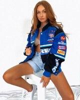 JESSIC-Chaqueta de estilo deportivo para mujer, abrigo largo holgado informal con estampado azul para primavera y otoño