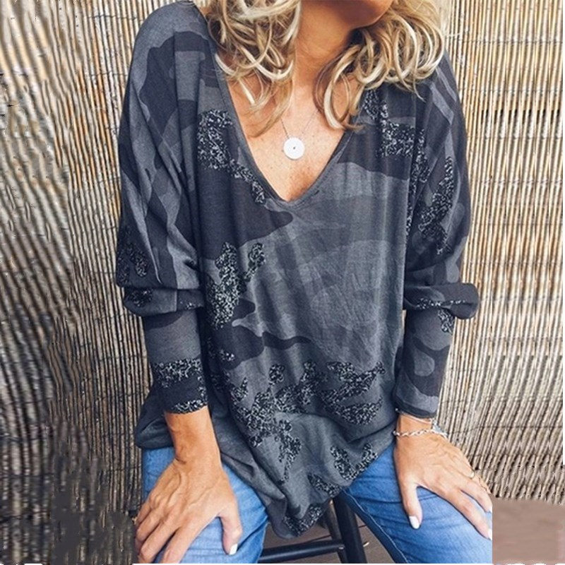 Women T-Shirt V Neck Camouflage Print Long Sleeve Tops Spring Casual Loose Ladies Tee Shirt Femme Womens Clothing Plus Size 5XL