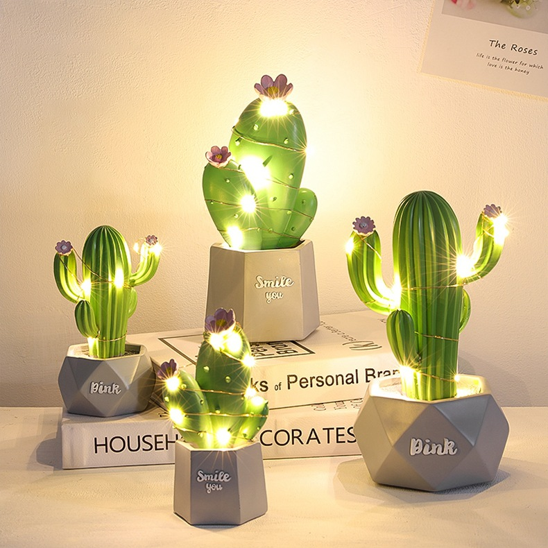 Hot Sale Nordic Wind Lovely Cactus Night Light Creative Dream Star Lights Bedroom Desk Lamp Gifts For Girls Dropshiping