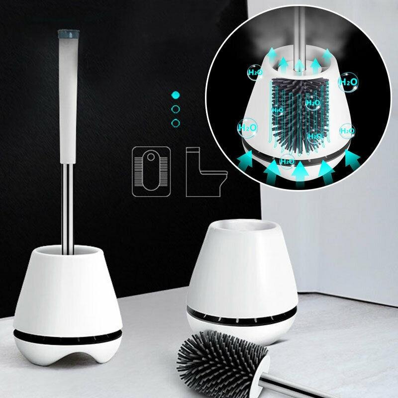 Toilet Brush Silicone Soft Bristle Holder Bathroom Lavatory Cleaning Brush Tool Set