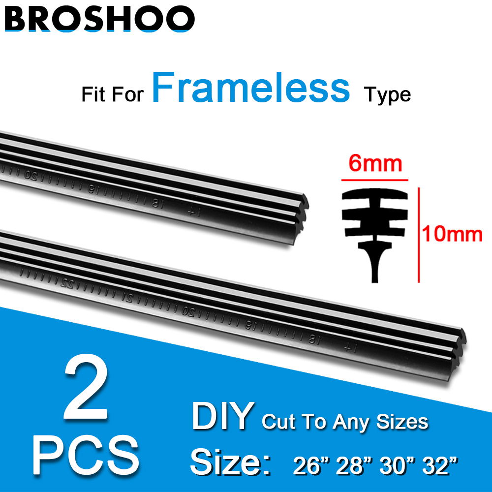 "2PCS Frameless Car Windshield Windscreen Wiper Blade Soft Vehicle Insert Rubber Strip (Refill) 6mm 26""28""30""32"" Car Accessories"