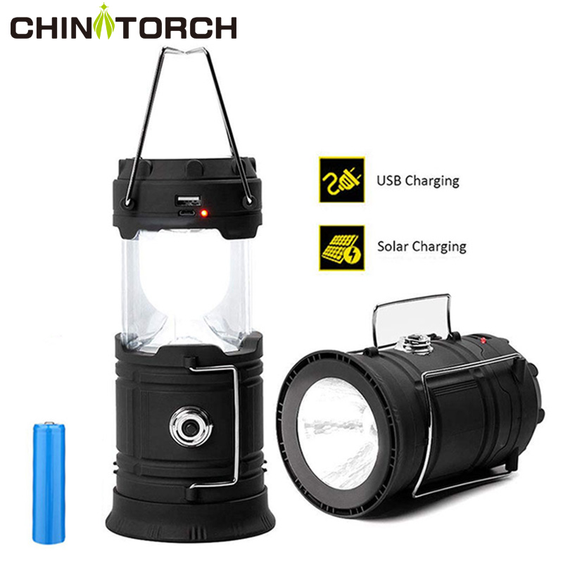 LED Camping Lantern Solar Powered Outdoor Camp Tent Lamp USB Rechargeable Collapsible Emergency Light Built-in Battery Hang Lamp