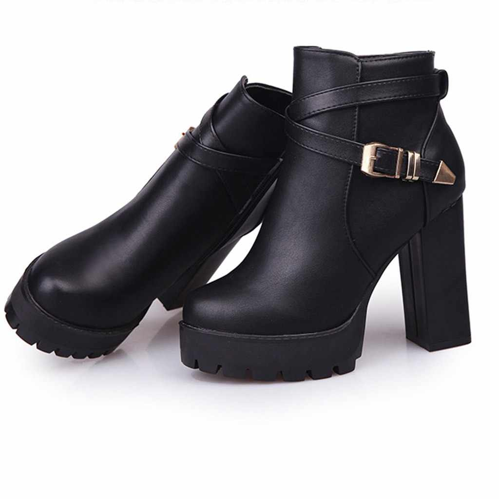 Fivela Botas Cinta Mulheres Moda Plataformas Zipper Fivela de Cinto Saltos Dedo Do Pé Redondo Botas de Inverno Sapatos Outono Mulher Bottes Femme