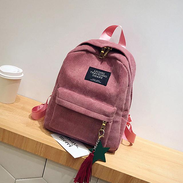 Mini Orthopedic Black Corduroy Backpack