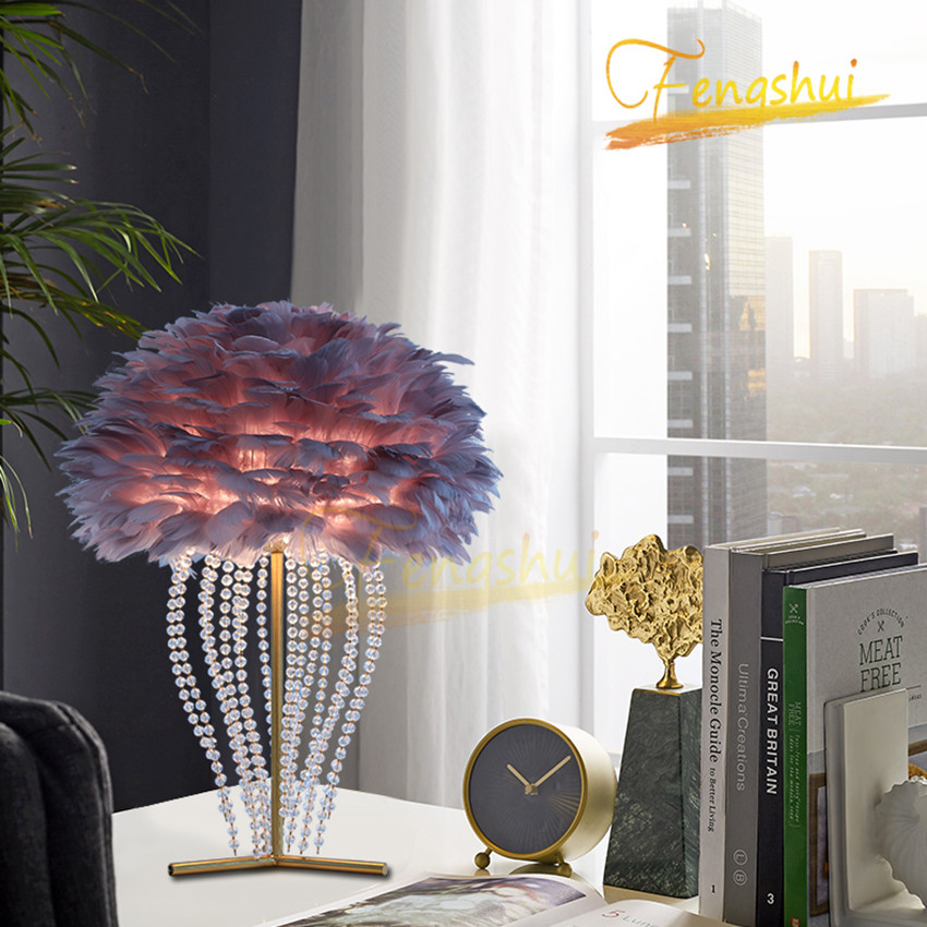 Nordic LED Feather Decorative Crystal Table Lamp Modern Table Lamps Warm Bedside Table Light Living Room Study Interior Fixtures