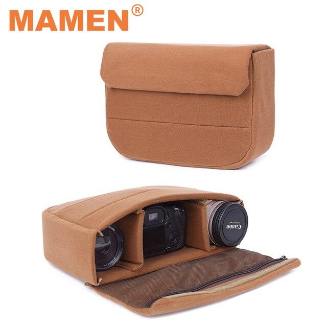 MAMEN 34*22*9cm kamera çantası yastıklı darbeye koruyucu kılıf Canon Nikon DSLR kamera için/Lens fotoğraf çanta aksesuarları
