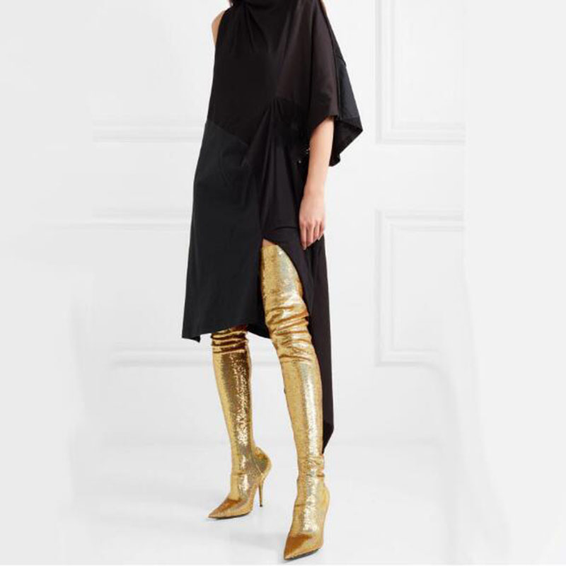 Bling Bling Over the Knee Boots Slim for Woman Sexy Stretch Material with Pointed toe Super Heel Runway Night Club Shoes