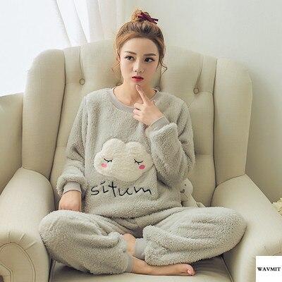 Autumn Winter Warm Flannel Women Pyjamas Sets Thick Coral Velvet Long Sleeve Cartoon Sleepwear Thin Flannel Pajamas Set for Girl 54