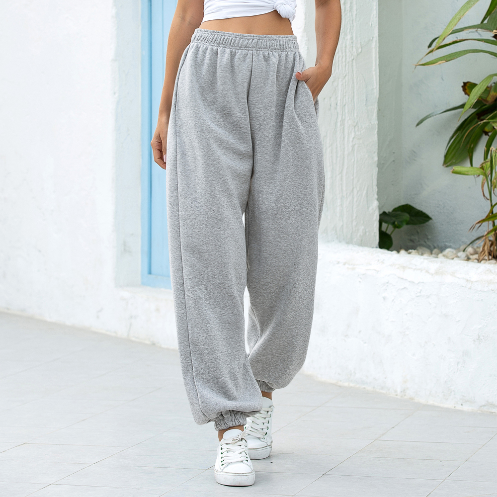 Women Casual Sport Pants Solid Running Jogger Pants Female Two Pockets Tracksuit Elastic Waist Ladies Sweatpants Baggy Trousers