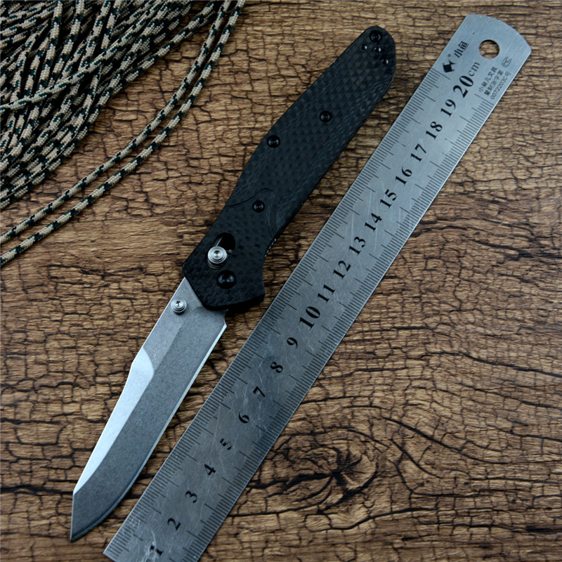 940 Axis Survival Pocket Knife Carbon Fiber/ Plastic Handle D2 Blade Copper Washer Hunting Folding Outdoor Knife Gift Collection