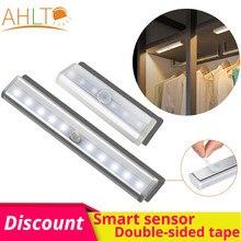6/10 Leb USB PLR Smart Motion Sensor magnete per luce notturna adesivo biadesivo lampada da cucina lampada da notte per armadio scale cucina