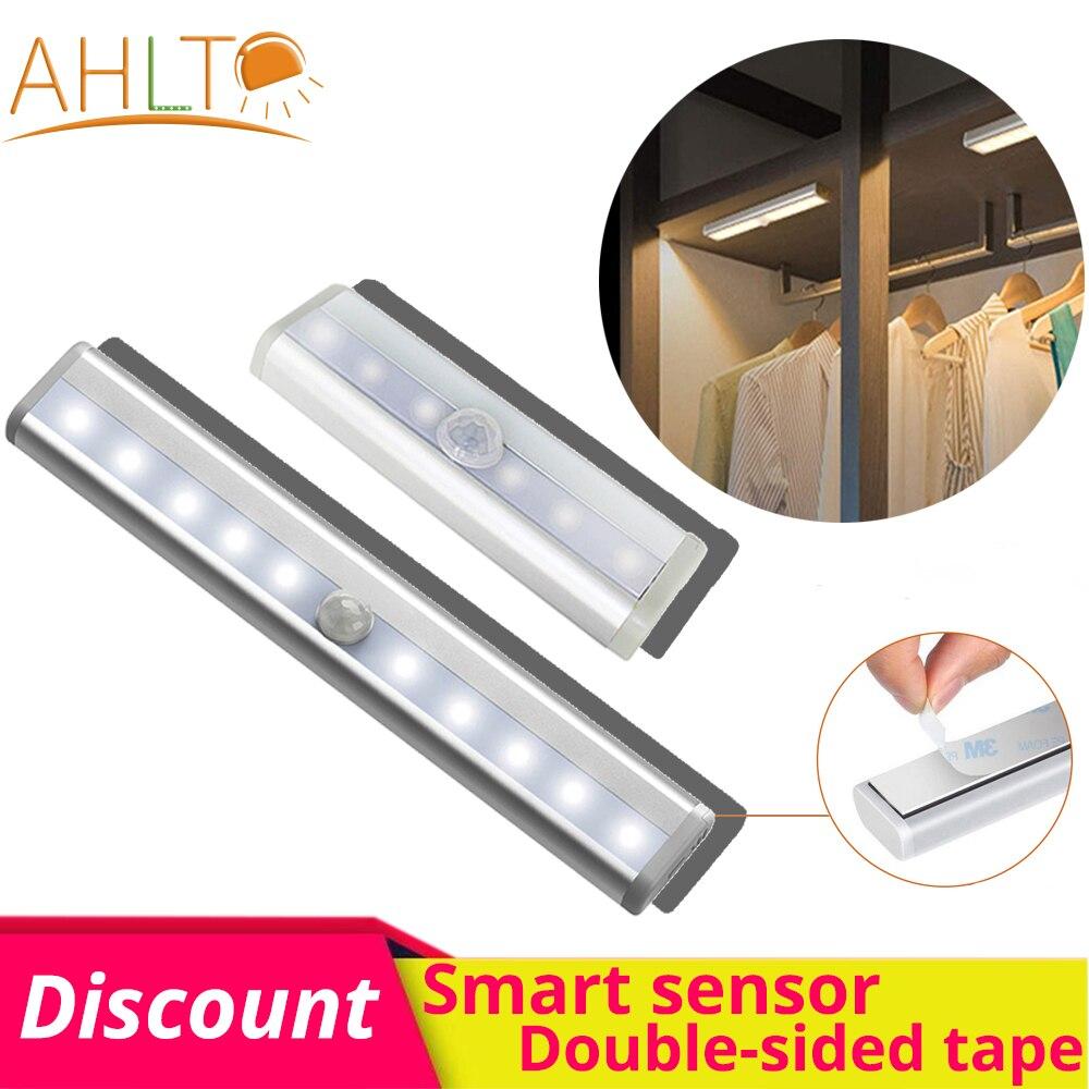 6/10 Leb USB PLR Smart capteur de mouvement veilleuse aimant Double face adhésif cuisine lumière nuit lampe pour placard escaliers cuisine