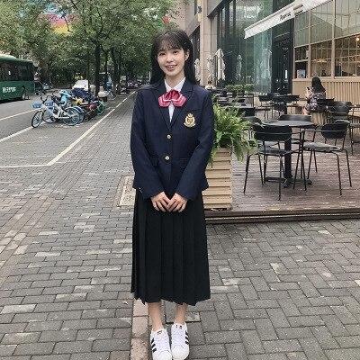 Women Men Dress Blazer Jacket Suit Set JK High School Uniform Students Male Girls Preppy Style Top Outwear Coat Long Pants Skirt