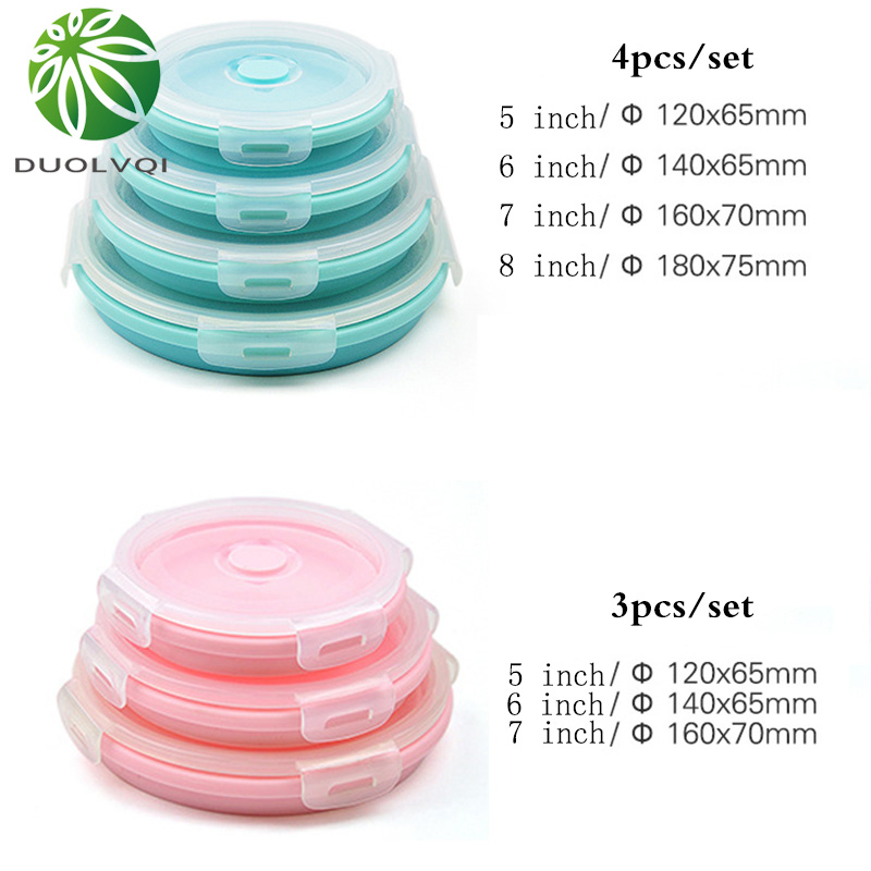 Duolvqi 3/4PCS Set Collapsible Fruit Salad Lunch Box Silicone Food Box Container Round shape Tableware BPA Free