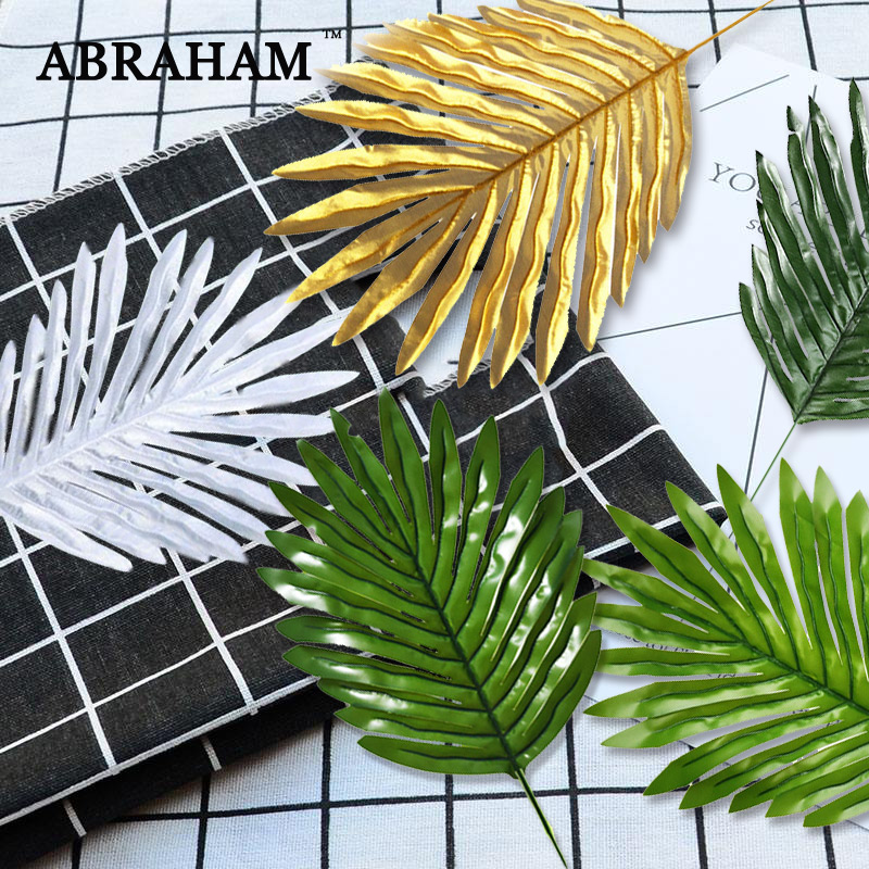 44cm Plastic Leaves Tropical Monstera Artificial Palm Leafs Green Plant Branch Fake Tree Foliage Gold Turtle Leaf For Home Decor