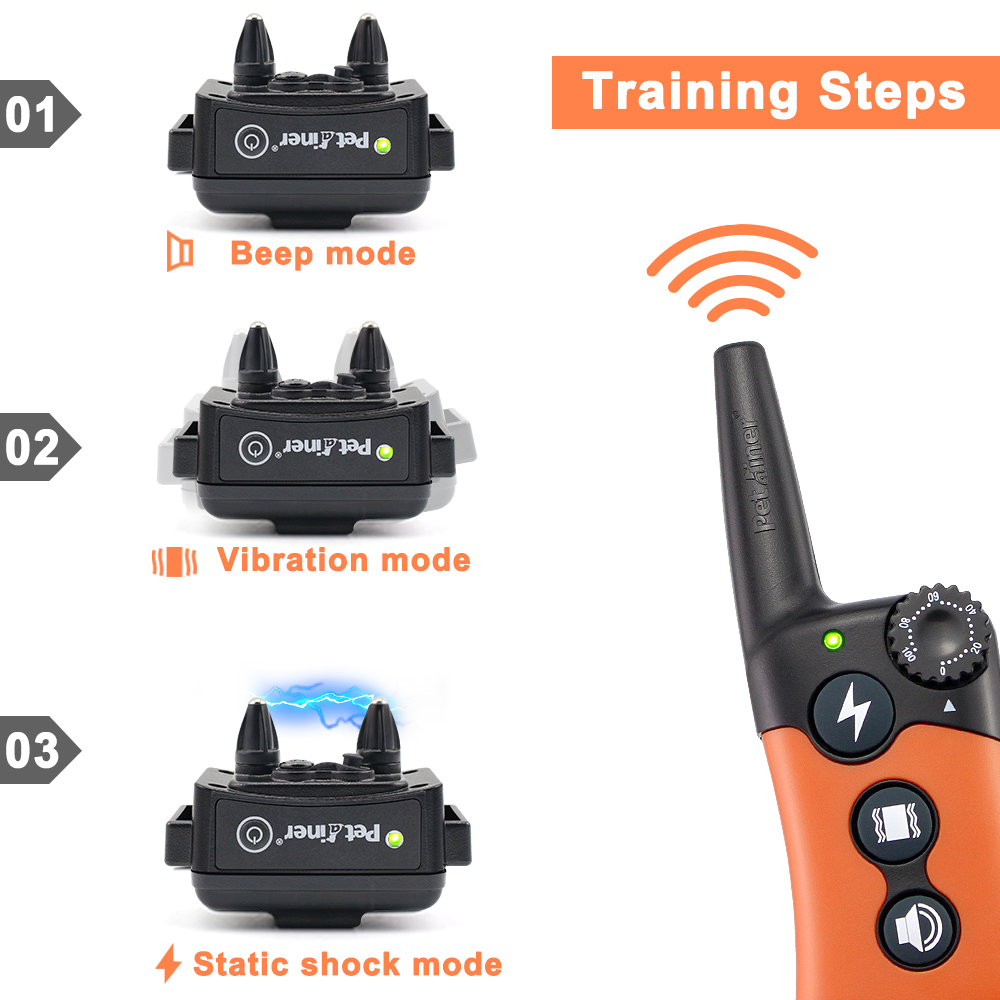 PETRAINER 619A 1 800M Remote Controlled Electric Dog Training Collar with Vibration and Beep 3