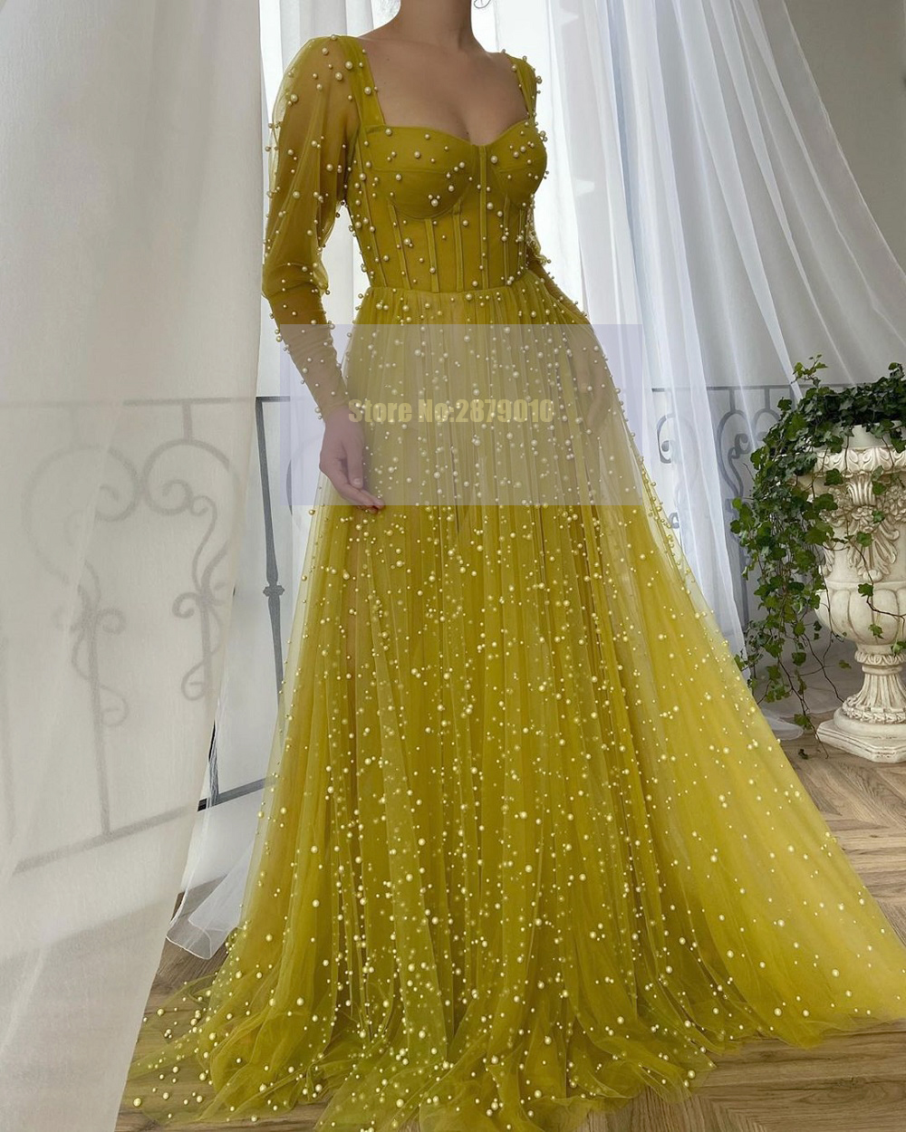Illusion Arabic Pearls Sweetheart Evening Dress Floor-Length Beaded Prom Dress Celebrity Dress Plus Size 2020 Dubai Formal