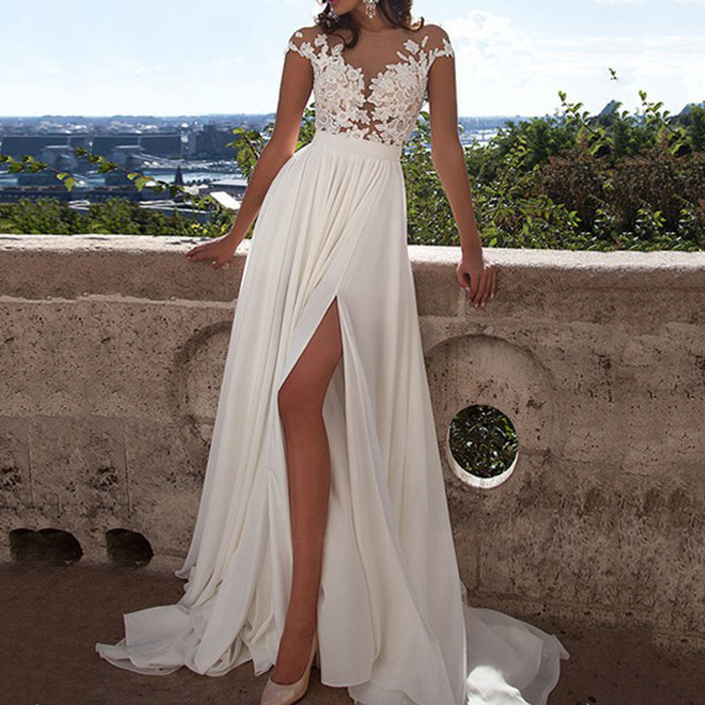 Elegant Prom Dress Scoop Neck Floor Length A Line Split Front Cap Sleeves Appliques White Evening Party Gowns Prom Dresses
