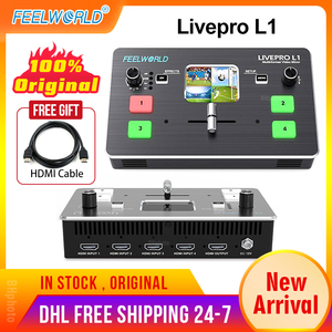 Feelworld Livepro L1 Real Time Live Streaming Switcher Video Mixer HDMI Multi-Format Studio Record Preview Mode For DSLR Camera