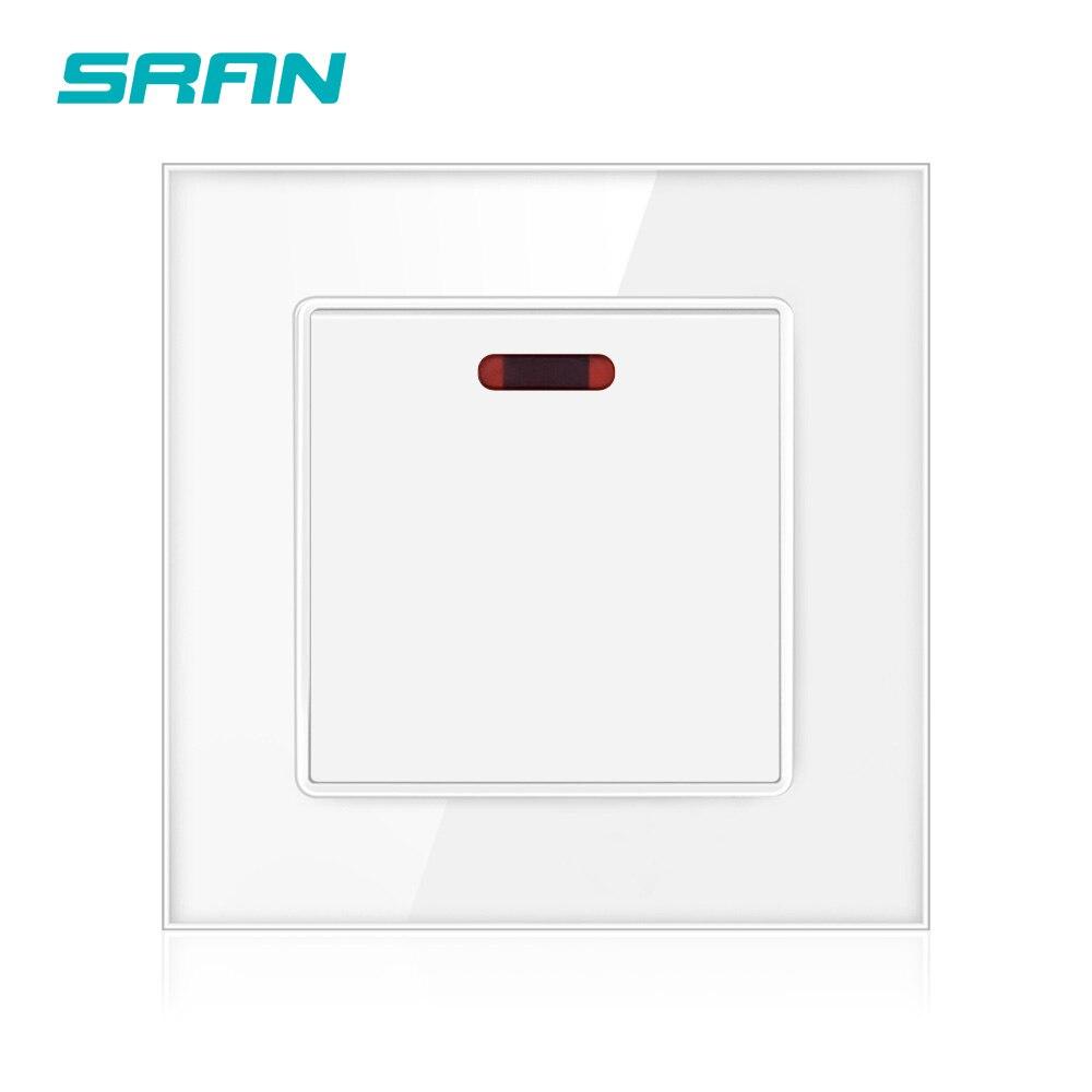 SRAN-interruptor de encendido/apagado para cocina, Panel de cristal de neón, 20A, interruptor de pared, aire acondicionado