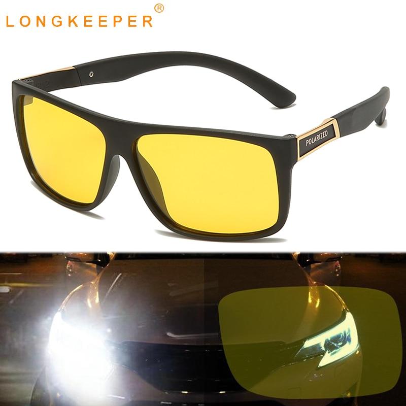 LongKeeper Night Vision Goggles Men TR90 Square Sunglasses  Anti-glare Car Driving Sun Glasses Male Yellow Lens Oculos UV400