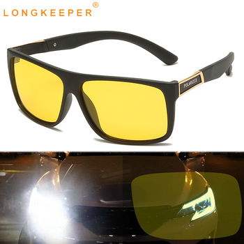 LongKeeper Night Vision Goggles Men TR90 Square Sunglasses  Anti-glare Car Driving Sun Glasses Male Yellow Lens Oculos UV400 car driver goggles anti uva polarized sun glasses driving night vision lens clip on sunglasses interior accessories