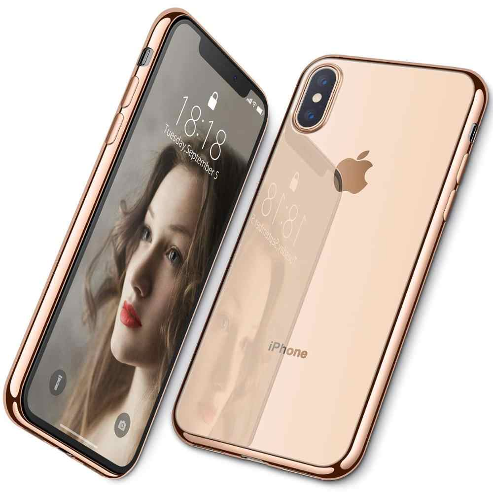 Luxe Hybrid Gehard Glas Telefoon Case Voor iphone 6 7 8plus Shockproof Galvaniseren Frame Back Cover voor iphone XS XR MAX Case