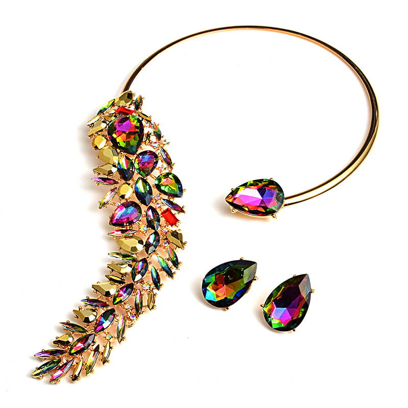 New Arrival Colorful Rhinestones Chokers Necklaces Fashion Trend Crystals Necklaces Fine Jewelry Accessories For Women