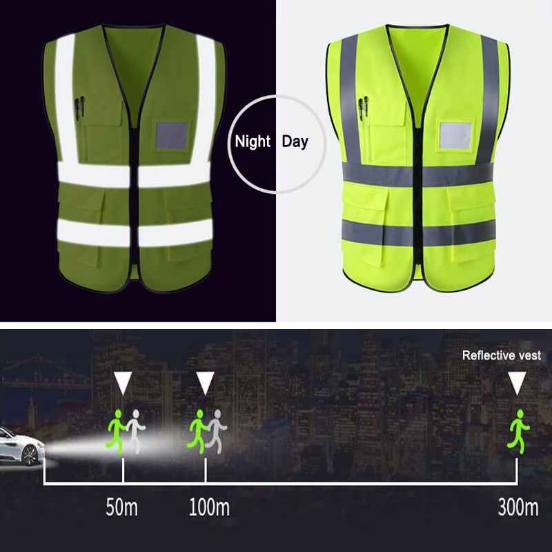 Reflective Vest With Reflective Polyester Fabric  Safety Clothing  Free Shipping