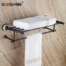 Antique Black Double Towel Racks Bathroom Shelves Ceramic Accessories Towel Bar Wall Mounted Towel Rail Bath Hanger SY-091R free shipping towel racks luxury bathroom accesserries golden finish bath towel shelves towel bar bath hardware db008k 1