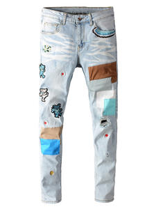 Skinny Jeans Embroidery Stretch Patchwork Ripped Bear Men's Denim Holes Light Blue